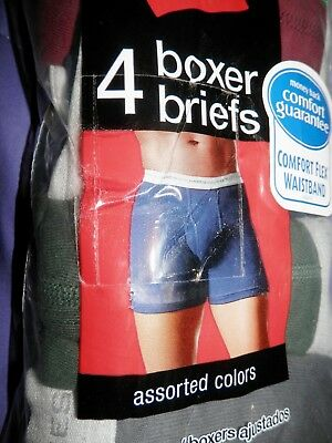 "HANES Men's BOXER BRIEFS (XL/XG) 4042""  New Set Of Four (4 Colors)"