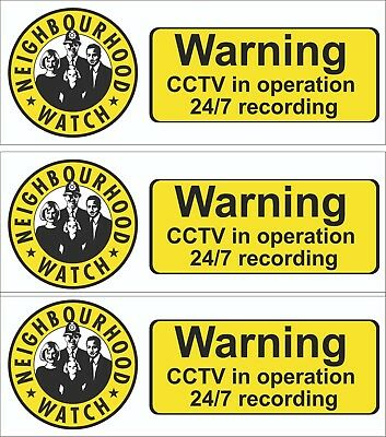 CCTV SIGN Neighbourhood Watch with CCTV -  Sign,Sticker  THREE SIZES PACK OF  3