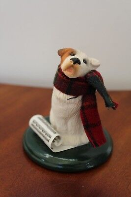 """Byers Choice The Carolers """"dog"""" With Plaid Scarf And Sheet Music Figurine"""