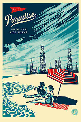 Shepard Fairey ♦ Paradise Turns ♦ Litho Offset Signee Obey Giant Mint