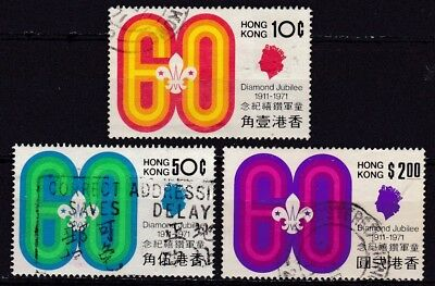 HONG KONG #262-264 USED 60th ANNIV. OF THE HONG KONG BOY SCOUTS