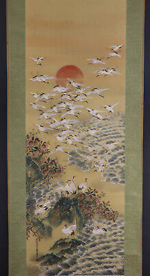 "JAPANESE HANGING SCROLL ART Painting ""Hundred Cranes"" Asian antique  #E5708"
