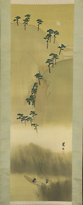 JAPANESE HANGING SCROLL ART Painting Scenery Asian antique  #E5733