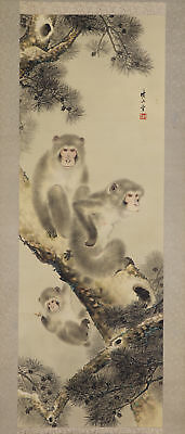 "JAPANESE HANGING SCROLL ART Painting ""Monkeys"" Asian antique  #E5735"
