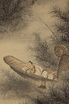 "JAPANESE HANGING SCROLL ART Painting ""Chinese wisemen on Boat""  #E5716"