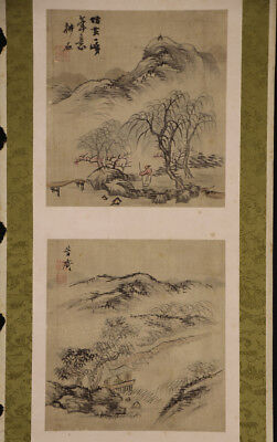JAPANESE HANGING SCROLL ART Painting Sansui Landscape Asian antique  #E5718