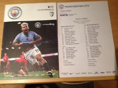 Manchester City v Bournemouth programme and teamsheet 1/12/18