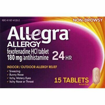 2 X Allegra Non-Drowsy Allergy Relief 180 mg Antihistamine 15 Tabs Exp 05/2019