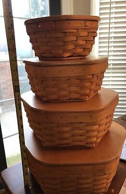 Longaberger Generation Basket Set of 4 w/ Protectors and Lids Pre Owned