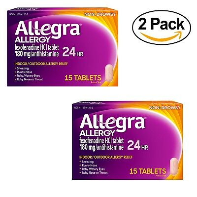 2 X Allegra Non-Drowsy Allergy Relief 180 mg Antihistamine 15 Tabs Exp 04/2019