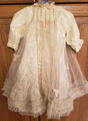 Beautiful Victorian Vintage Baptism Gown/Christening Outfit--Lace & Tulle