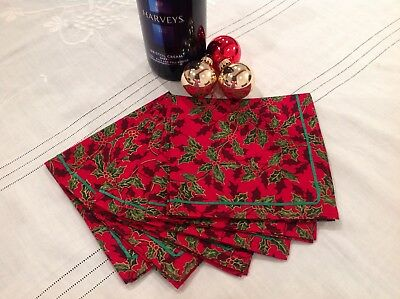 Set Of Six Cotton Fabric Christmas Table Napkins With Ribbon Trim Red Holly