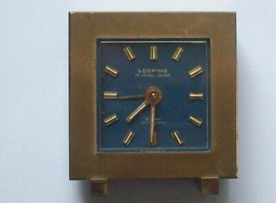 Small Vintage Brass Art Deco Looping Desk Alarm Clock 15 Jewels Lever Working