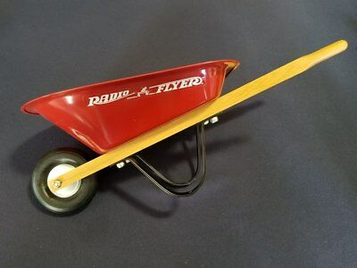 "Radio Flyer 16.5""  Wheelbarrow Toy Planter Home Decor Metal Wooden Handles EUC"