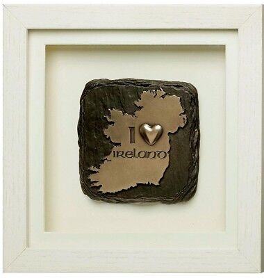 """New Framed Genesis Bronze Plaque With The Iconic Map & Text """"I Heart Ireland"""""""