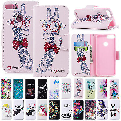 For Huawei P Smart 2019 Case Magnetic Flip Leather Card Holder Stand Phone Cover