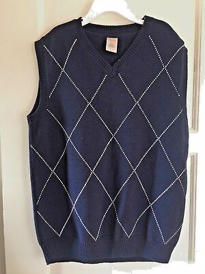 NWOT Gymboree Boy's Knit Vest Holiday School Dress Up Argyle Cotton L 10-12 Navy