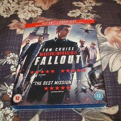 Mission Impossible Fallout Blu Ray & Bonus Disc Tom Cruise With Cover
