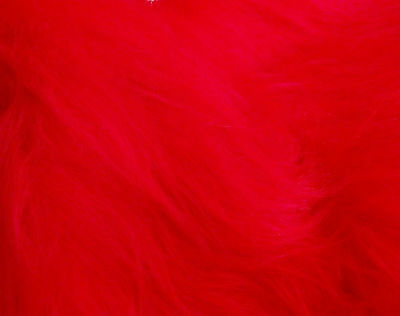 LONG Pile Fun Faux Fur Fabric Material - BRIGHT RED