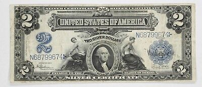 1899 Series $2 Silver Certificate Fr-258 Large Size Choice Vf Very Fine (674)