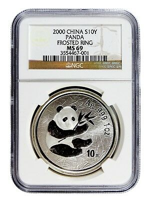 AUC0772 2000 China 1 oz Silver Panda S10Y Frosted Ring NGC MS 69