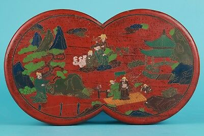 Antique Chinese Lacquerware Jewelry Box Old Handmade Mountain Water Old Collec