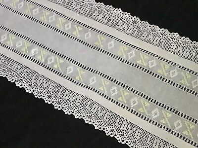 """ANTIQUE EX. LONG LINEN TABLE RUNNER ~ 'LOVE' LACE/DRAWN THREAD/EMBROIDERY 65""""x17"""