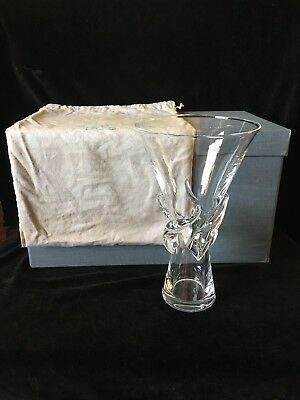 STEUBEN ROSE VASE New in Box -Vintage Mid-Century Bag & Care Book -MINT & UNUSED