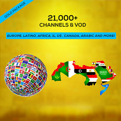 1 Year IPTV SUBSCRIPTION +21000 Ch&VOD EUROPE, US, CANADA, LATINO, AFRICA, AR