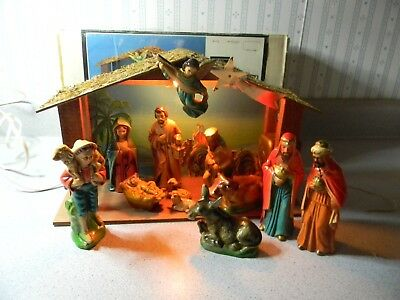 Vintage Sears Nativity Lighted Musical Paper Mache Japan Chicago 15 pc Complete