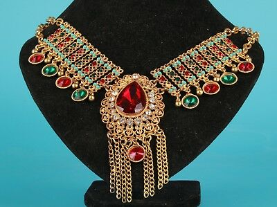 Vintage Chinese Gold-Plated Necklace Sweater Chain Inlaid Zircon Decorative Gift
