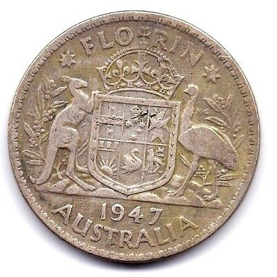 1947 Australia  Silver Florin  Coin  King George V  Extra Fine