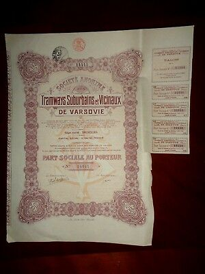 Tramways Suburbains  Varsovie,Share certificate Warszawa 1924 Poland