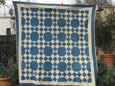 LARGE Vintage Hand Stitched Snowball Quilt Motif Blue Beautiful Los Angeles Area