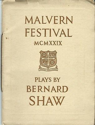 Malvern Festival 1929, Theatre Programme For Two Weeks Of Bernard Shaw Plays