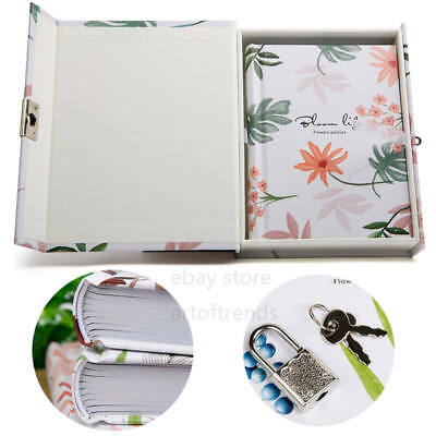 Notetimes Secret Diary Notebook with Lock and Key, Flower Cardboard Journal Gift