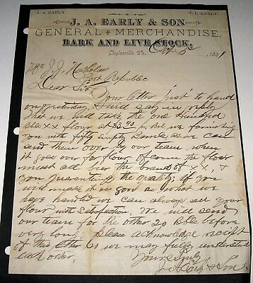 1891 Doylesville Brown's Cove VA Letters JA Early & HT Hill to JJ Nicholas