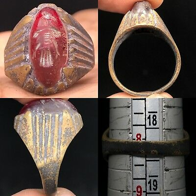 Wonderful Roman bird intaglio Rare Lovely Old agate Ring