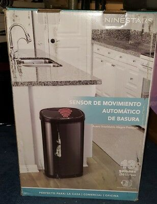 Nine Stars Group Touchless Stainles Steel Trash Can - New In Box