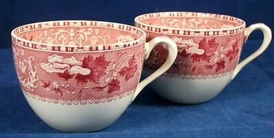 Spode CAMILLA RED 2 Cups (no saucers)-Old Backstamp Earthenware GREAT CONDITION