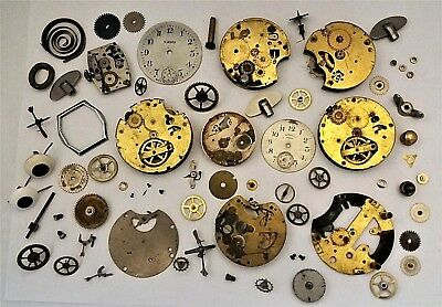 Vintage Clock Parts-Wheels Movements Gears & Other Stuff for Steampunk/Restore