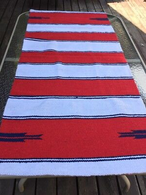 Beautiful Vintage Early 1940's Navajo Double Saddle Blanket