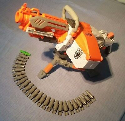 Nerf Rare White Havok Fire Vulcan Ebf-25 Machine Gun Fully Loaded