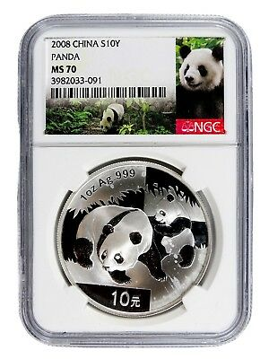AUC0774 2008 China 1 oz Silver Panda S10Y NGC MS 70