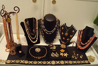 "Vintage Costume Jewellery ""Job Lot"" Gold/Brown/Peach Tones."