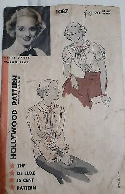 1930s Hollywood #1087 Betty Davis Vintage Blouse Sewing Pattern 20 Bust 38 used
