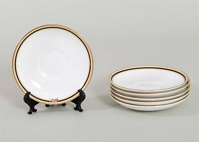 """Set of 6 Wedgwood CLIO Saucers Leigh Shaped Fine China 5.75"""" Floral Gold Trim"""