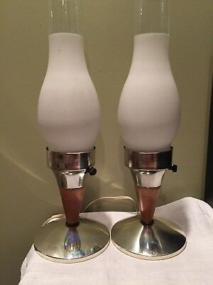 Pair of Vintage mid century modern wood table Dresser lamps Retro Home Decor