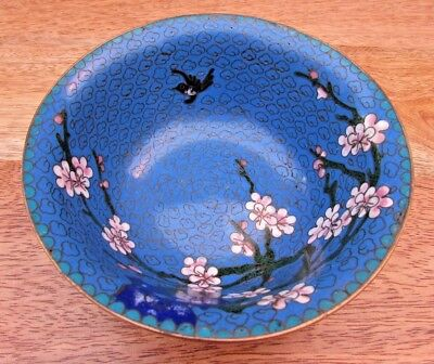 Vintage Cloisonne Enamel Dish Bowl Flowers And Birds 12.5 Cms Diameter - Reduced
