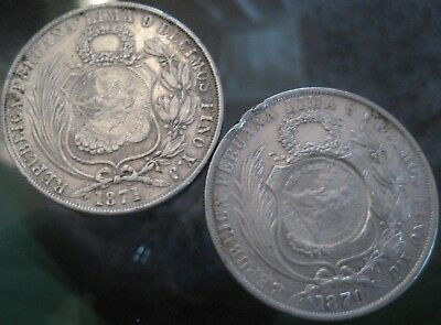 GREAT GUATEMALA AUCTION start 1 $ 1/2 Real Counterstamp on PERU 1 SOL 1870 ,1871